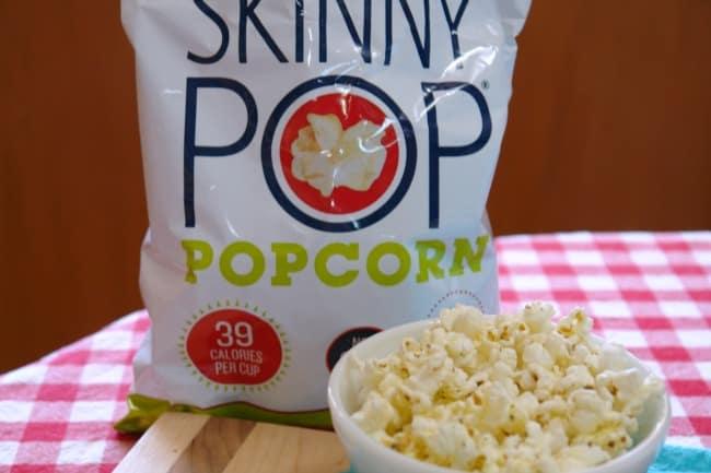 bag of Skinny Pop Popcorn and bowl of popcorn