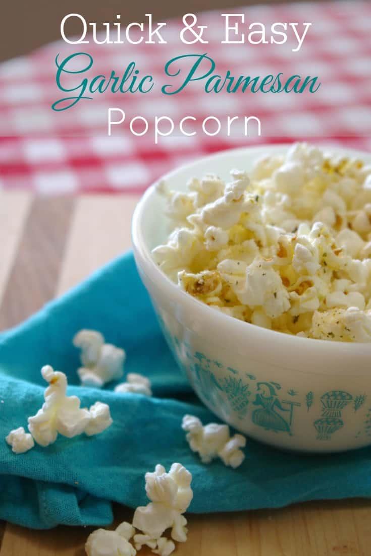vintage pyrex bowl filled with garlic parmesan popcorn