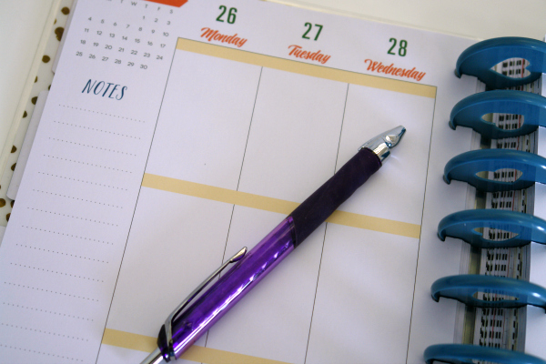 planner and pen
