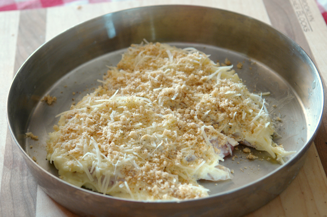 chicken with mayo parmesan topping