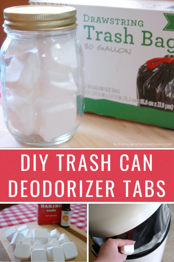 Collage of trash can deodorizer tabs