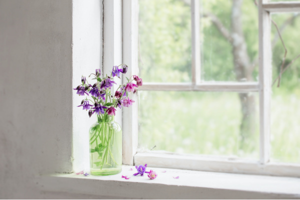 flowers in green vase on windowsill