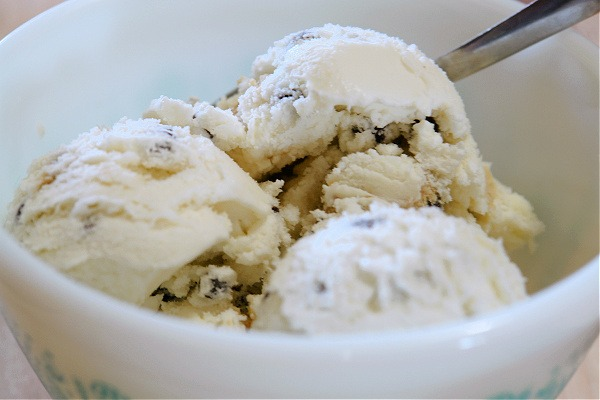 chocolate chip cookie dough ice cream in vintage pyrex bowl