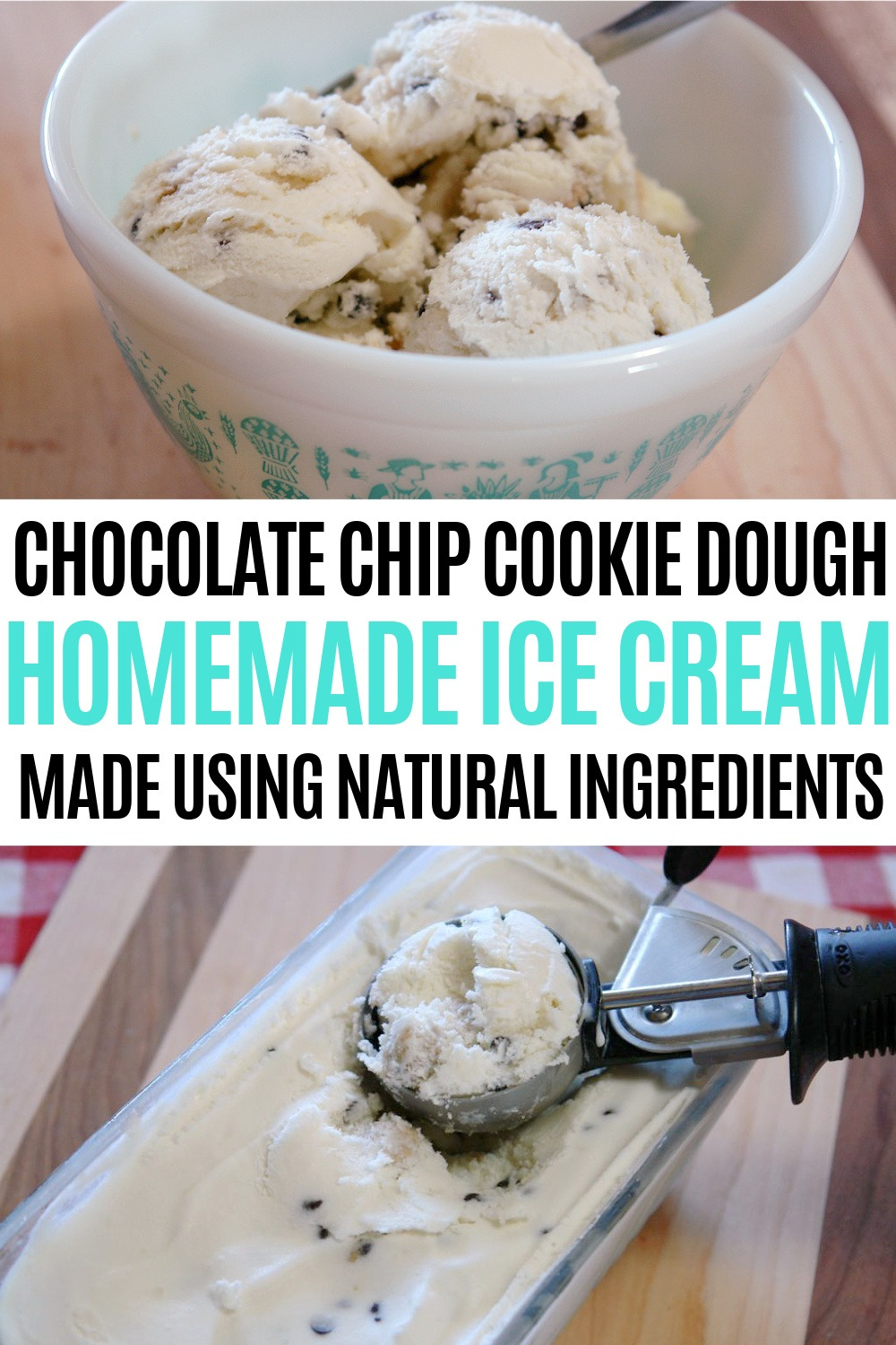 Homemade chocolate chip cookie dough ice cream, kitchenaid ice cream recipe, egg-less ice cream recipe