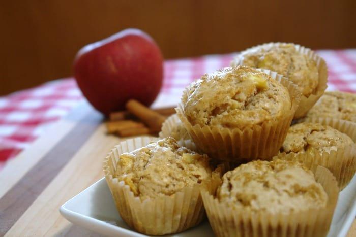 plate of apple cinnamon muffins