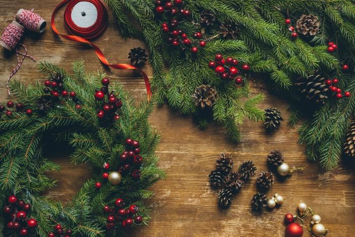 Christmas wreaths on table
