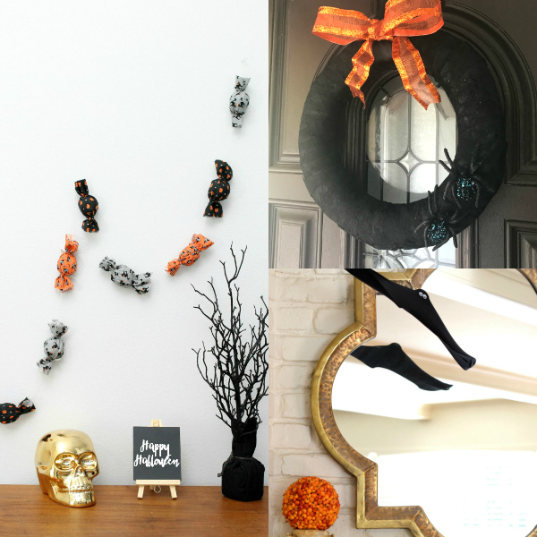 fabric candy decoration, black lace wreath, and wire hanger bats