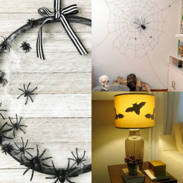 spider web wreath, spider and web on wall, and bats in lamp shade