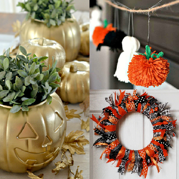 pumpkins painted gold, ghost, spider and pumpkin made from yarn, and a ribbon wreath