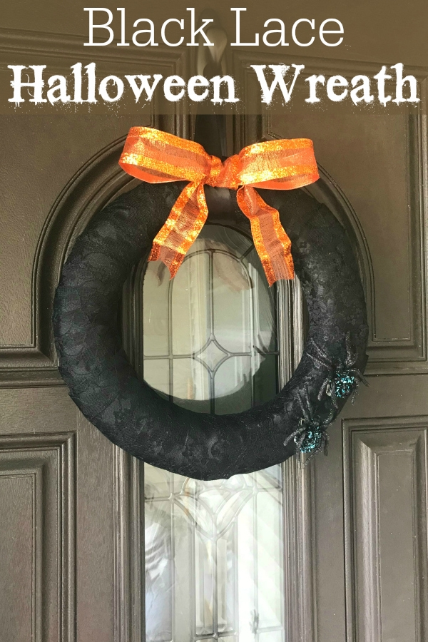 Black Lace Halloween Wreath on Door