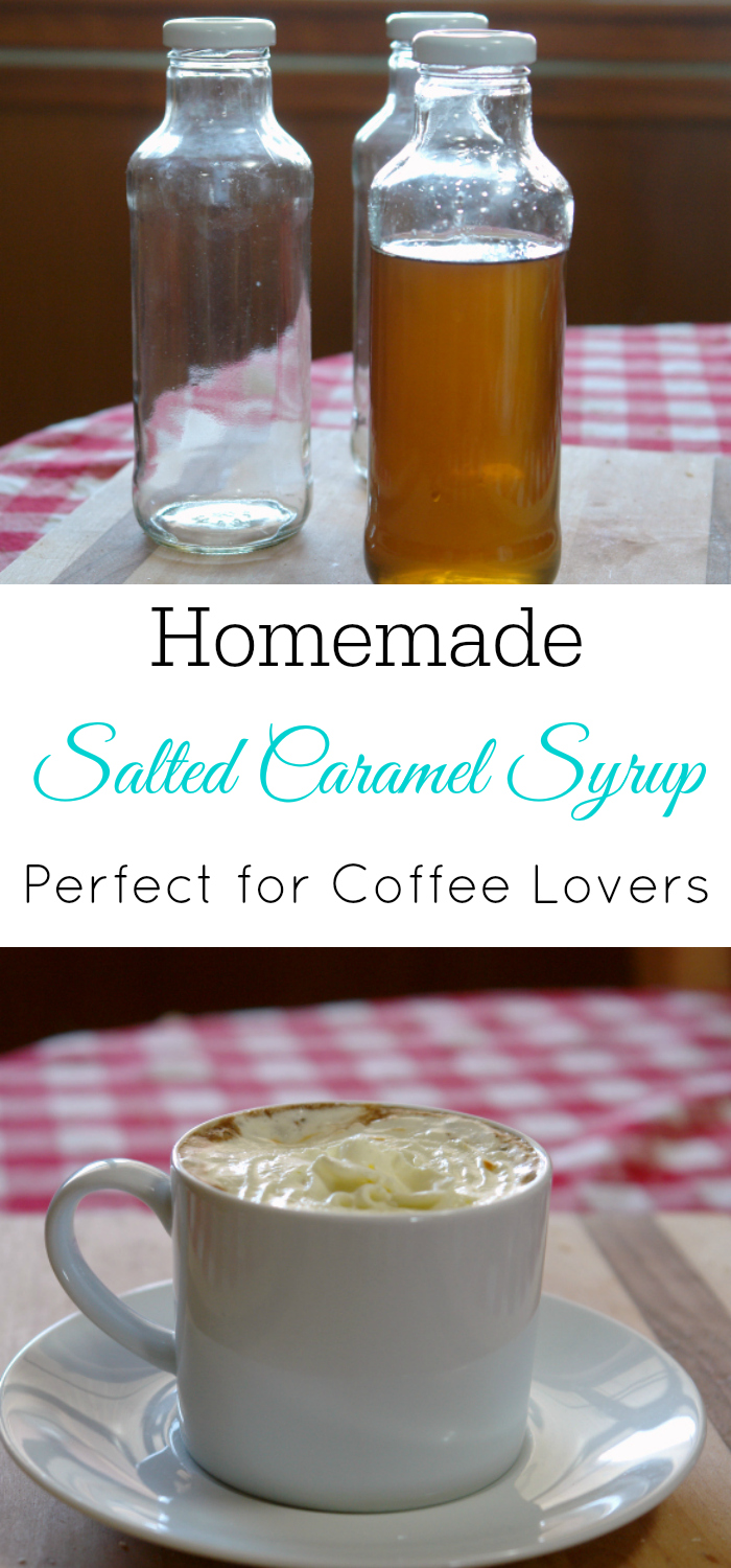 bottle of homemade salted caramel coffee syrup and cup of coffee