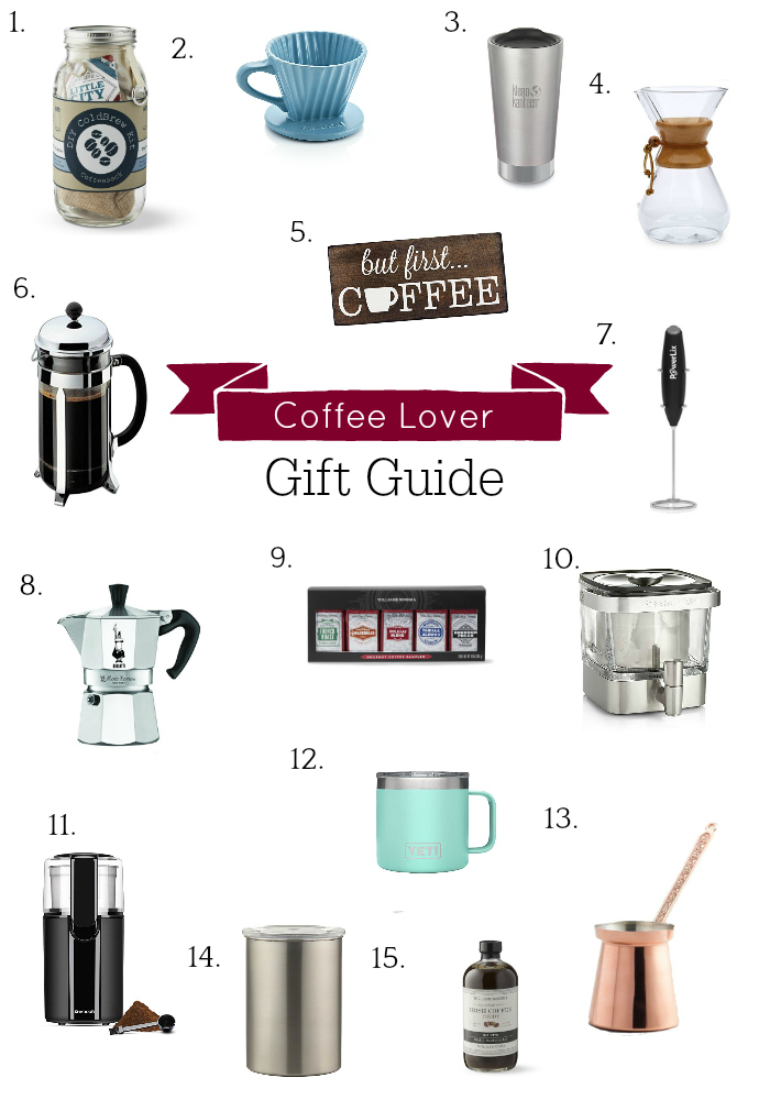 collage of coffee gift ideas