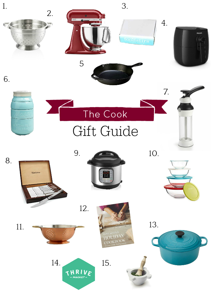 collage of gift ideas for cooks