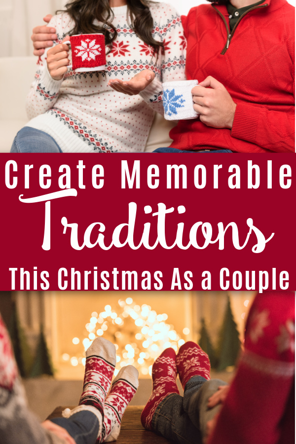 collage with picture of couple in front of fire and couple drinking hot cocoa