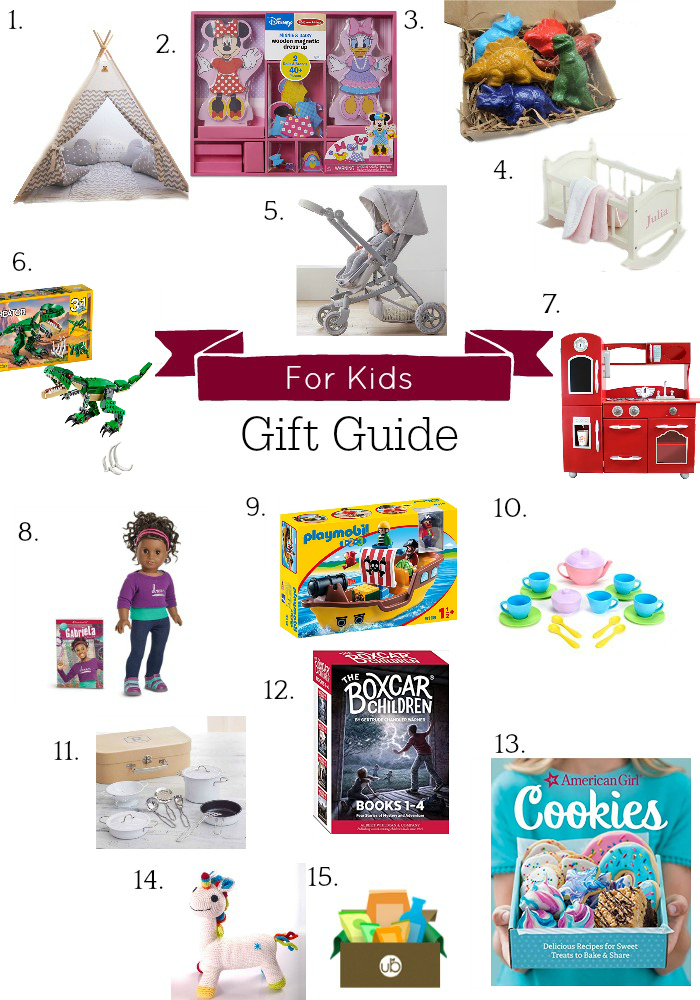 collage of kids gifts