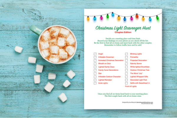 Cup of hot cocoa or chocolate with marshmallow and Christmas light scavenger hunt printable
