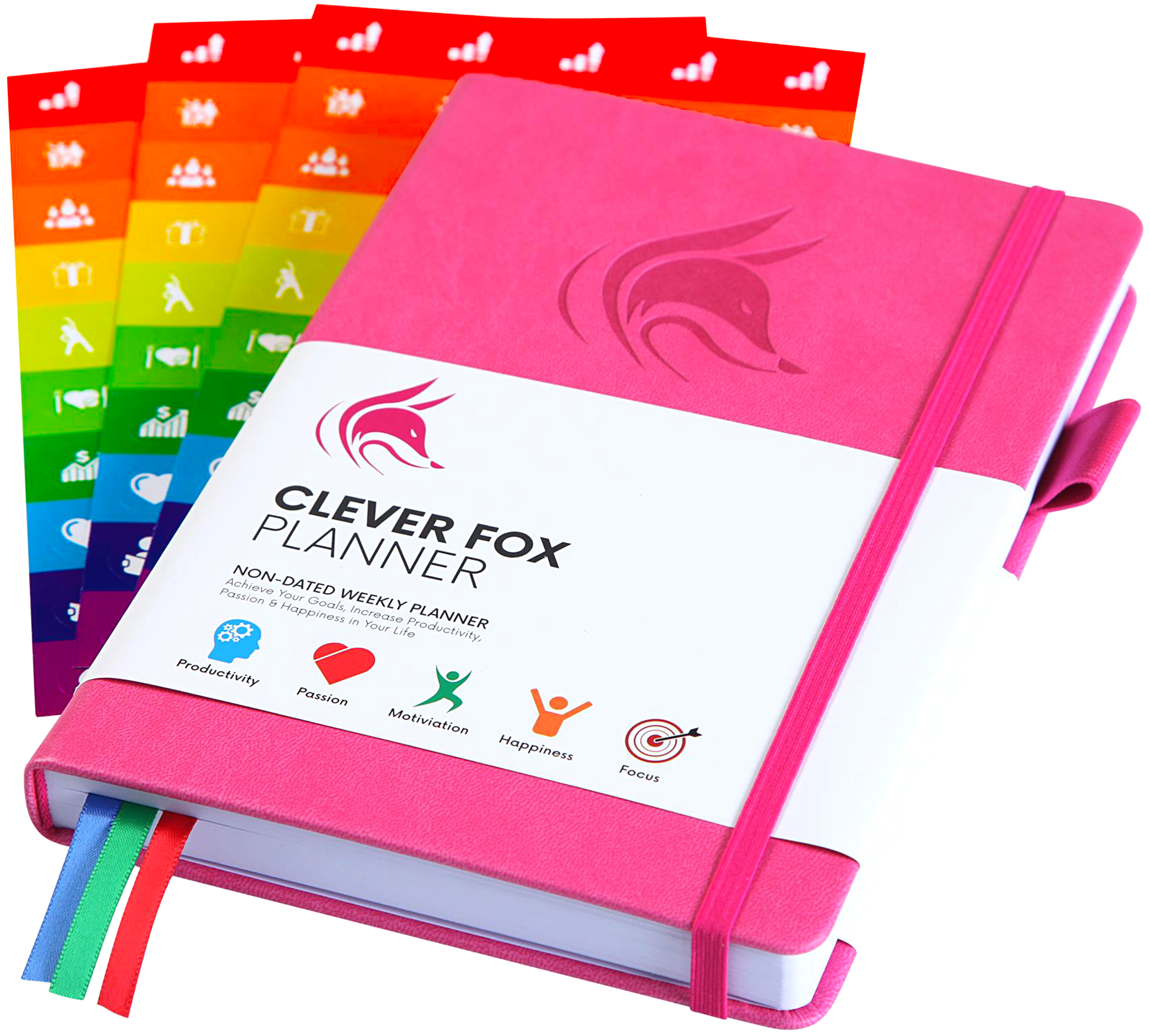 pink Clever Fox planner with sticker sheets