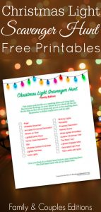 Christmas multicolored lights on a wooden background with Christmas scavenger hunt printable