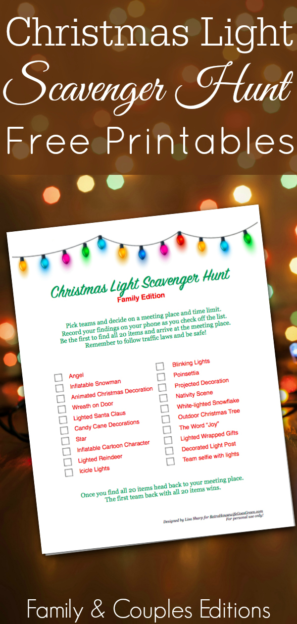 Christmas lights on dark background with Christmas scavenger hunt printable
