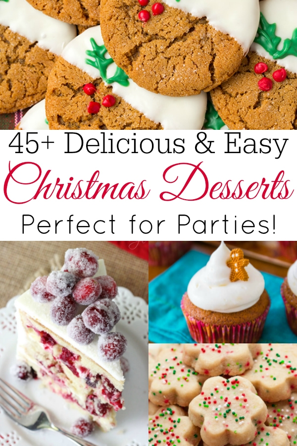 collage of easy christmas desserts
