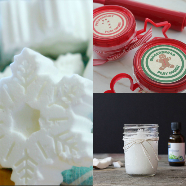 collage of peppermint crafts