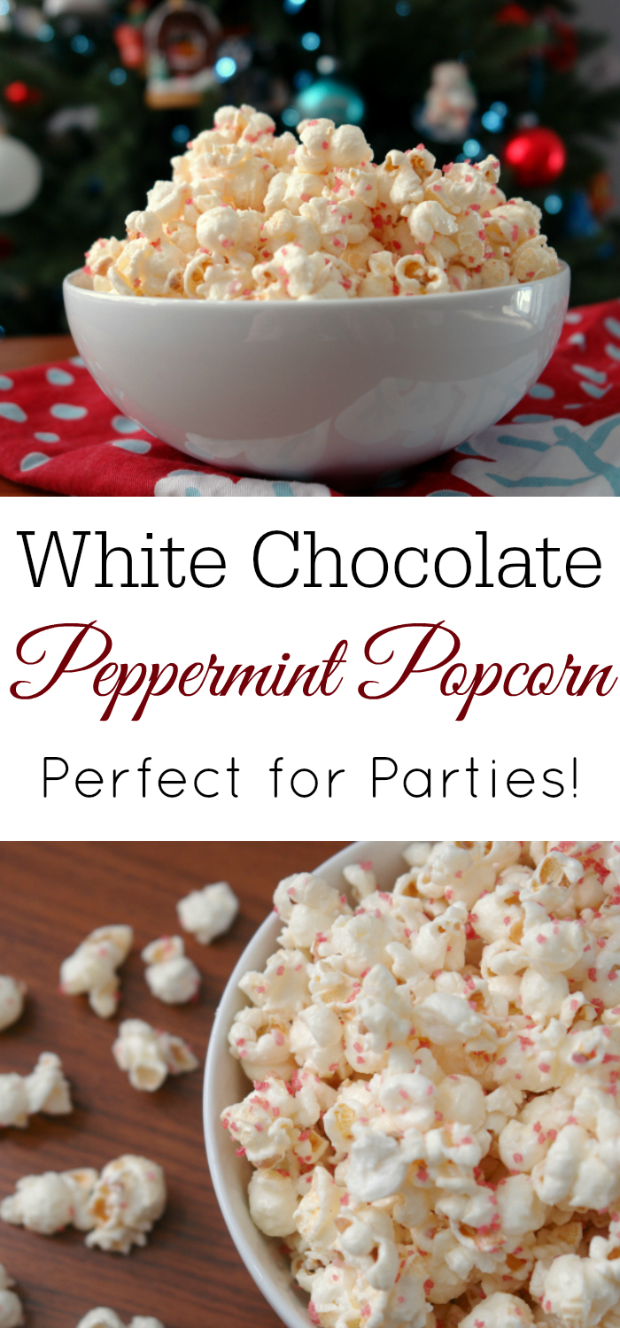 White Chocolate Peppermint Popcorn in front of Christmas tree
