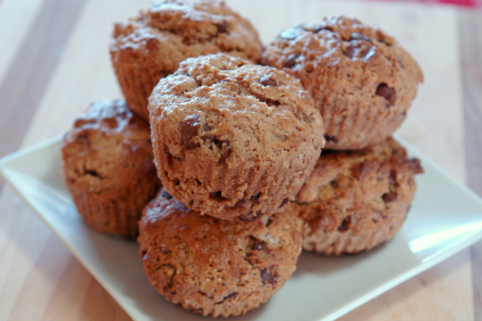 Homemade Chocolate Chocolate Chip Muffins, Easy homemade muffins, make-ahead breakfast #breakfast #muffins