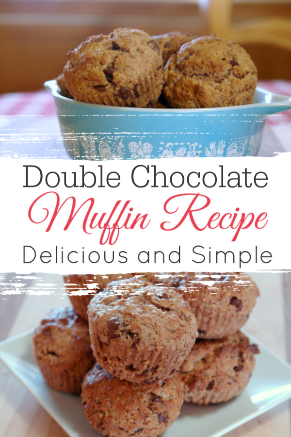 collage of chocolate chocolate chip muffins