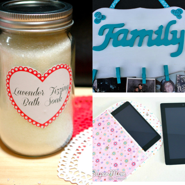 collage of homemade gifts for mom
