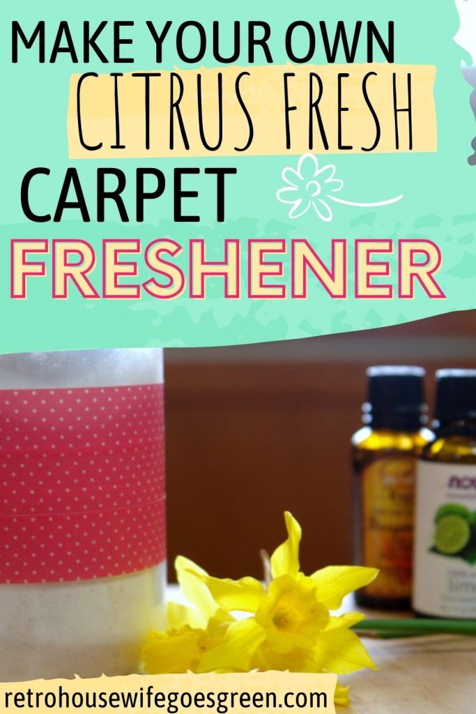 carpet freshener in glass jar with yellow flowers and essential oil bottles