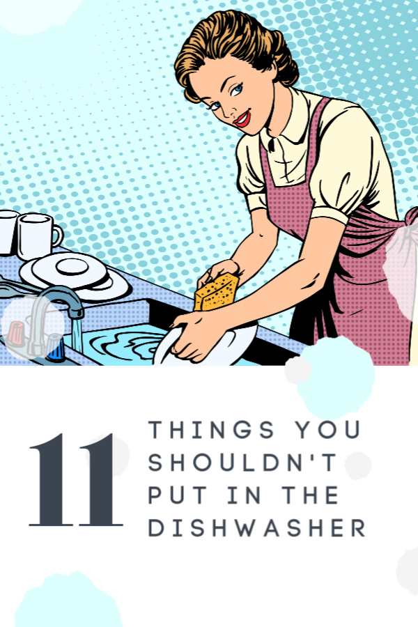 retro image with retro housewife washing dishes