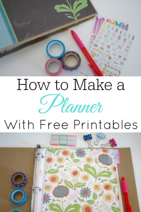 collage of diy planner and planner supplies