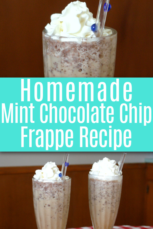 up-close photo of mint chocolate. chip frappe in glass and photo of two glasses of frappes with whipped cream and glass straws