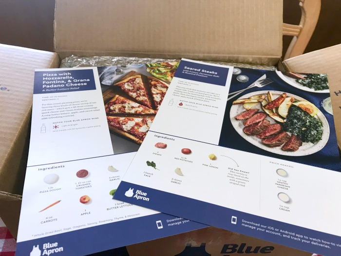 Blue Apron box and recipe cards