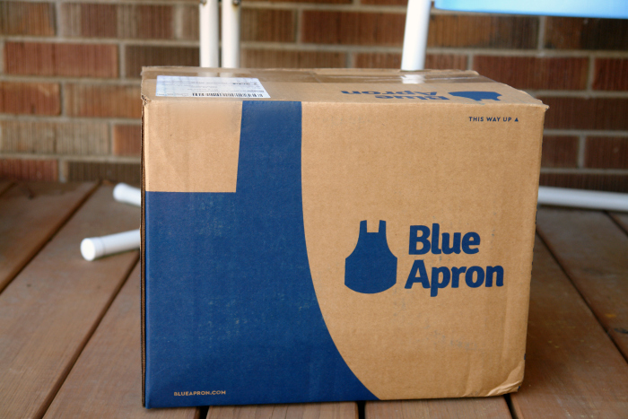 Blue Apron box on porch