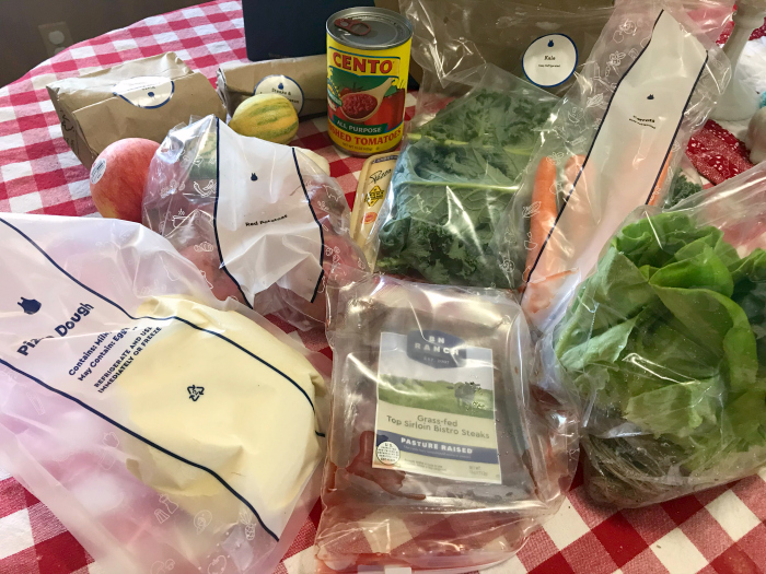 Blue Apron box with food