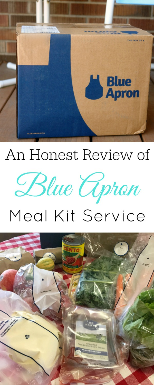 Collage with Blue Apron box and food