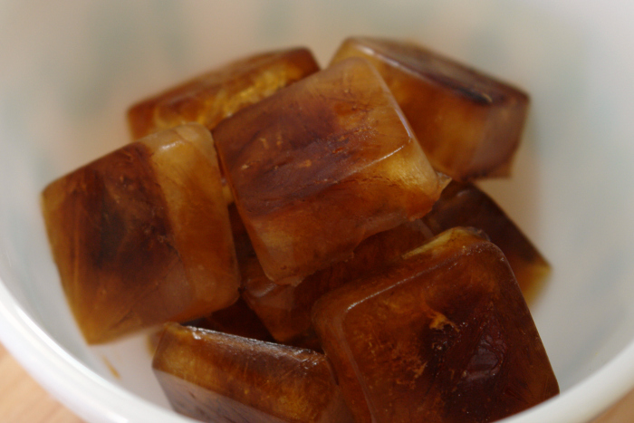 coffee ice cubes in a bowl