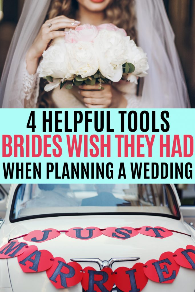 collage with vintage bride holding flowers and vintage car with just married banner