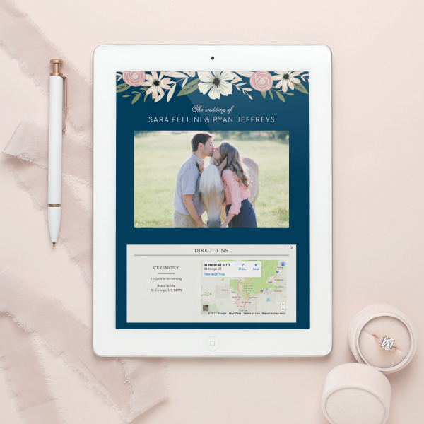 Wedding website sample on an iPad