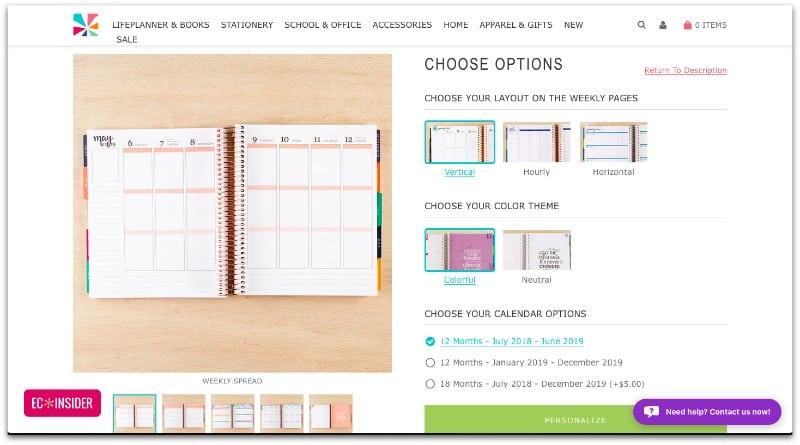 screenshot of customizing Erin Condren Life Planner