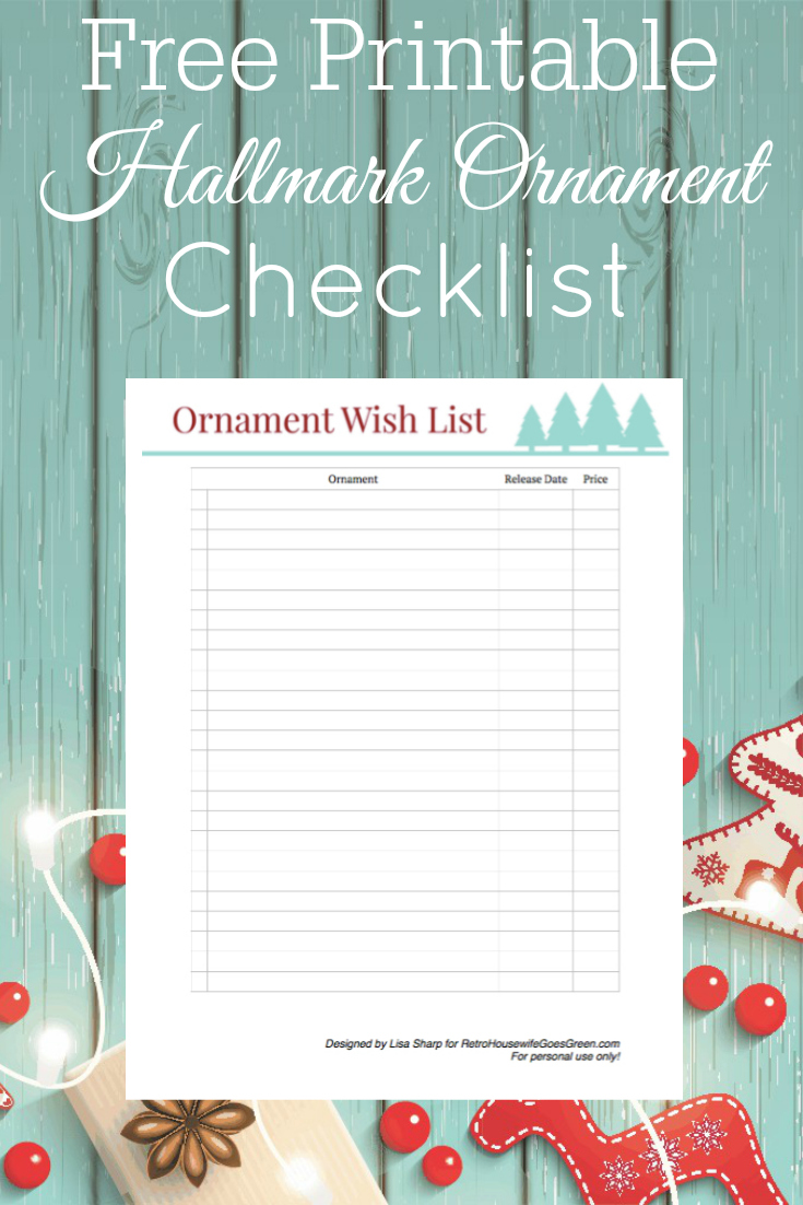 aqua wood background with christmas decor and printable ornament checklist
