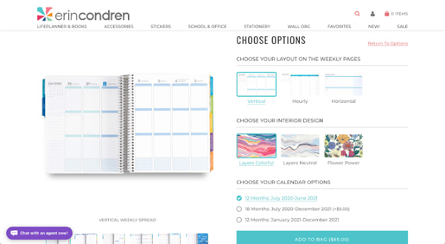 screenshot of lifeplanner ordering