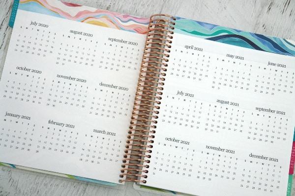 2020/2021 year at a glance calendar