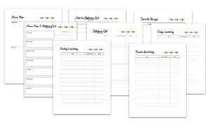 screen caps of meal planning printables