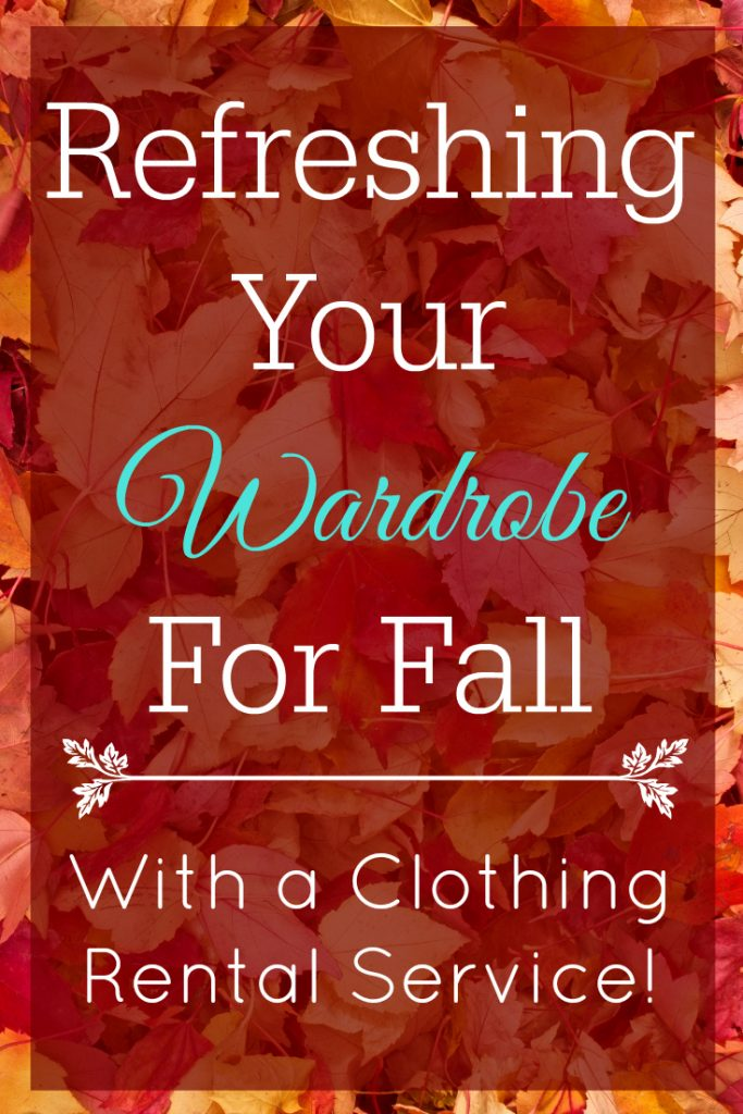fall leaves background with text refreshing your wardrobe for fall with a clothing rental service