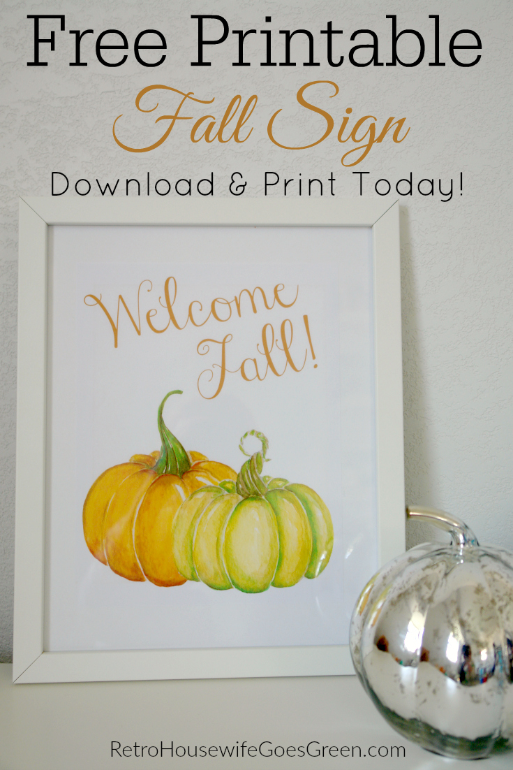 welcome fall sign in white frame on white background with mercury glass pumpkin