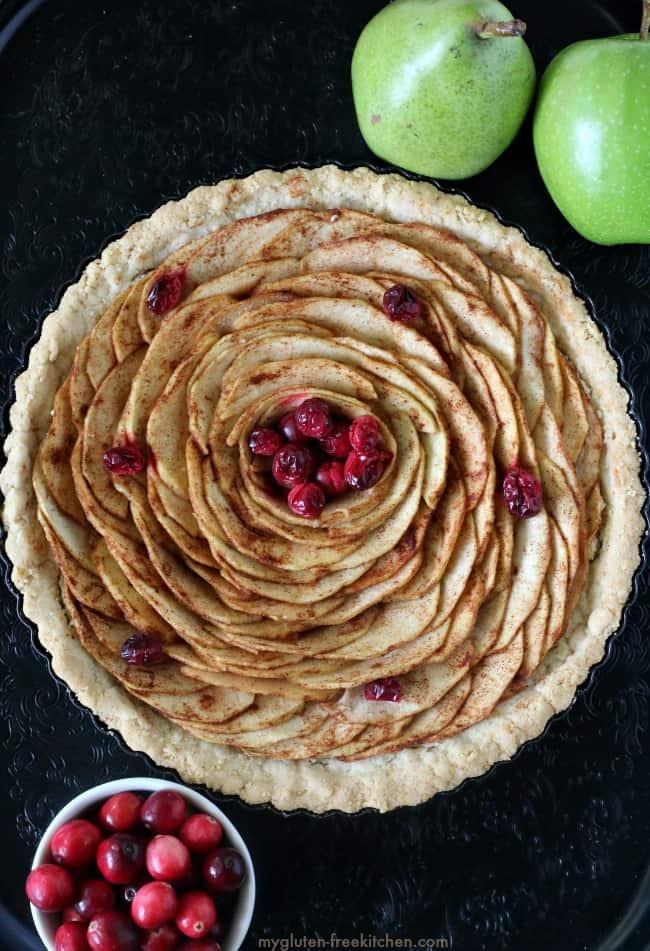 gluten-free apple pear tart on dark background