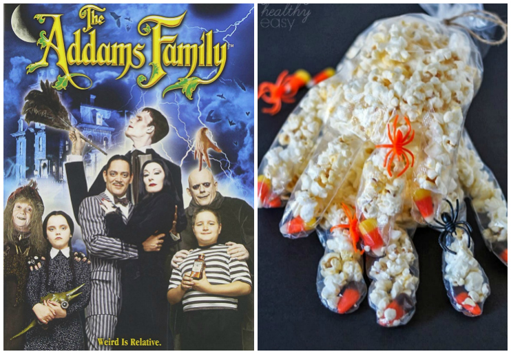 Adam's Family dvd and popcorn in glove
