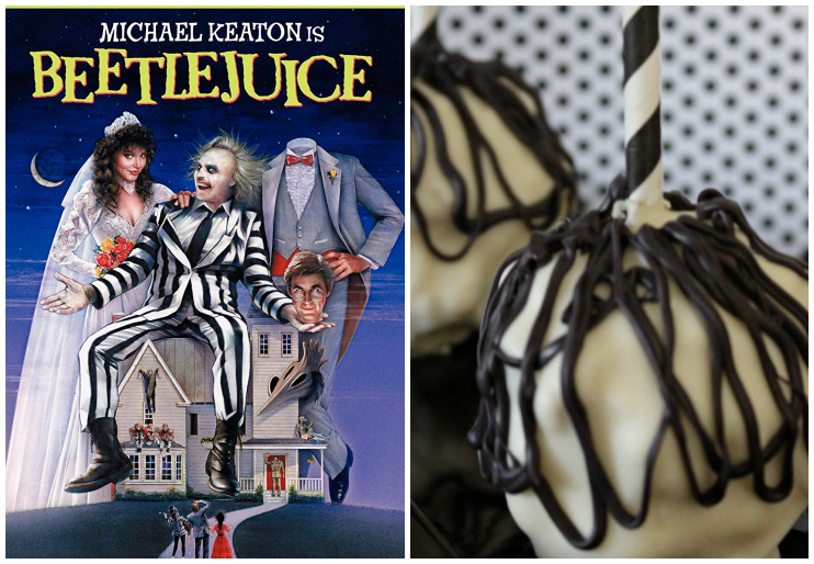 Beetlejuice DVD and chocolate covered popcorn balls